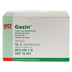 GAZIN Tupfer pflaumengroß steril Gr.3 20fädig 30x3 Stück - Linke Seite