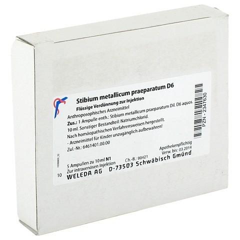 STIBIUM MET. PRAEPARATUM D 6 Ampullen 5x10 Milliliter N1