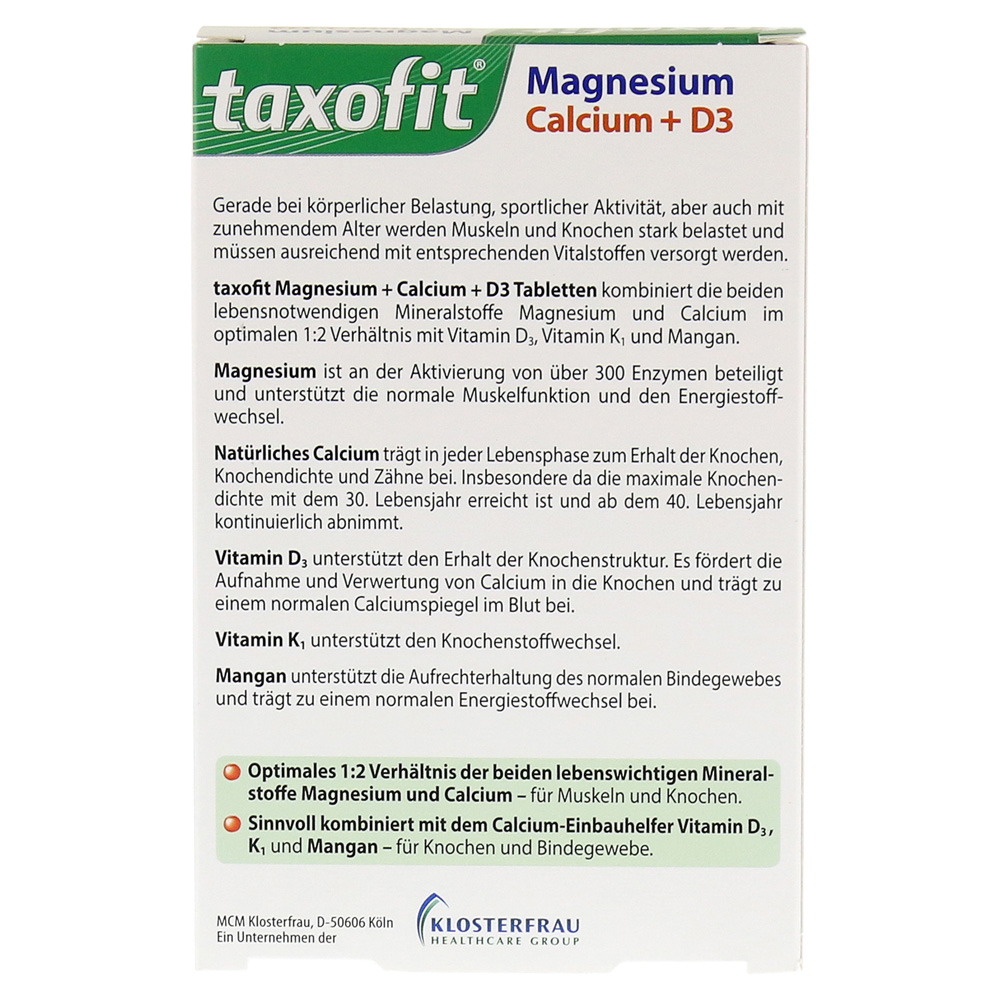 erfahrungen zu taxofit magnesium calcium d3 tabletten 40. Black Bedroom Furniture Sets. Home Design Ideas