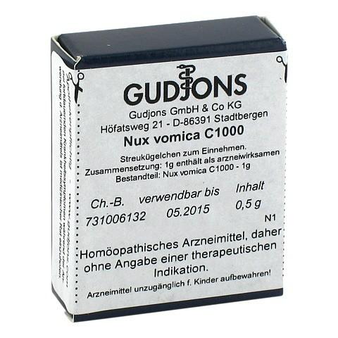 NUX VOMICA C 1000 Einzeldosis Globuli 0.5 Gramm N1