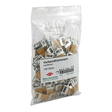 VERBANDKLAMMERN hautfarben mit Gummiband 100 Stück