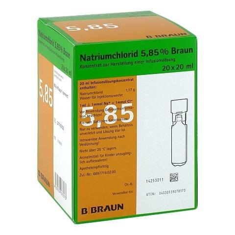 NATRIUMCHLORID 5,85% Braun MPC Infusionslsg.-Konz. 20x20 Milliliter N3