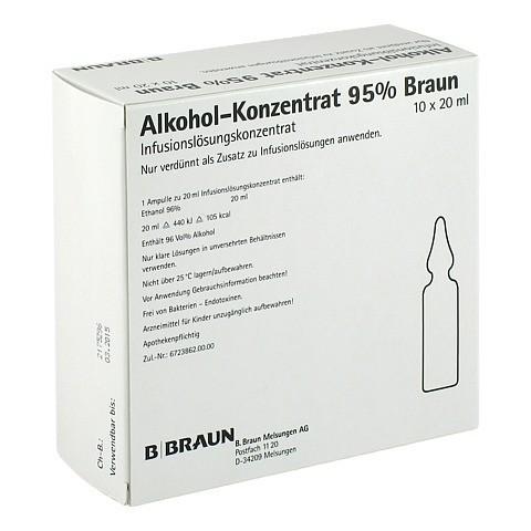 ALKOHOL 95% Infusionslösungskonzentrat 10x20 Milliliter N3