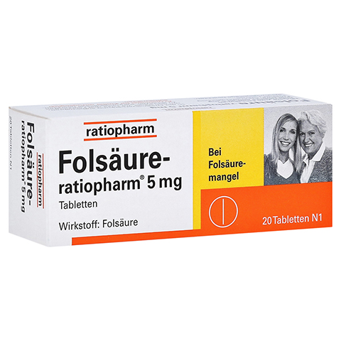 FOLSÄURE RATIOPHARM 5 mg Tabletten 20 Stück N1