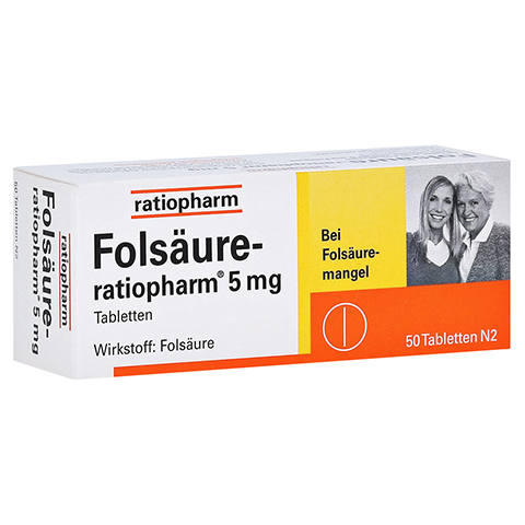 FOLSÄURE RATIOPHARM 5 mg Tabletten 50 Stück N2