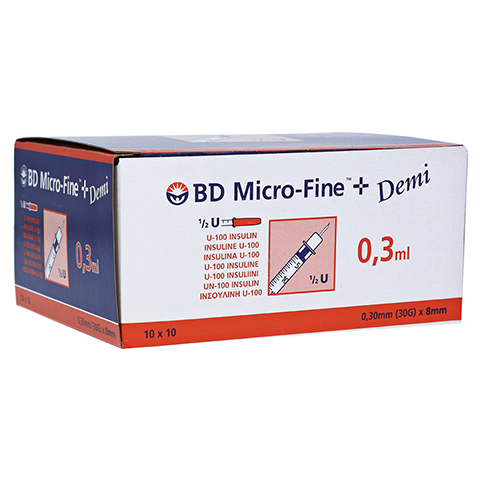 BD MICRO-FINE+ Insulinspr.0,3 ml U100 0,3x8 mm 100 Stück