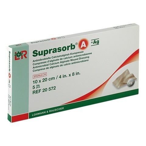 SUPRASORB A+Ag Antimik.Cal.Alginat Kompr.10x20 cm 5 Stück
