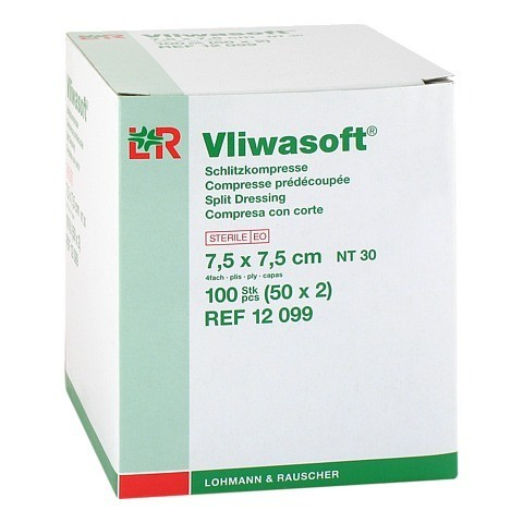 VLIWASOFT Schlitzkompressen 7,5x7,5 cm steril 4l. 50x2 Stück