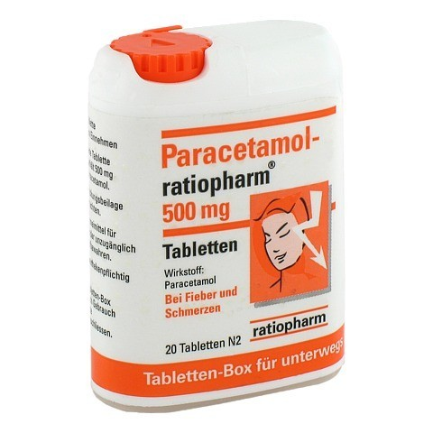PARACETAMOL ratiopharm 500 mg Tabletten Box 20 Stück N2