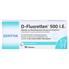 D-Fluoretten 500 I.E. Tabl.z.Herst.e.Lsg.z.Einnehmen 90 Stück N3 - Vorderseite