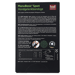 BORT ManuBasic Sport Bandage li.L schw./grün 1 Stück - Rückseite