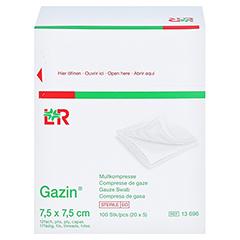 GAZIN Mullkomp.7,5x7,5 cm steril 12fach mittel 20x5 Stück - Linke Seite