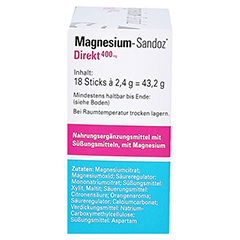 MAGNESIUM SANDOZ Direkt 400 mg Sticks 18 Stück - Rechte Seite