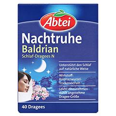 Abtei Nachtruhe Baldrian Schlaf-Dragees N 40 Stück - Vorderseite