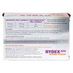 RYDEX 375 Beta-Glucan und Vitamin C Kapseln 60 Stück - Rückseite