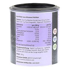 ACAI 100% nat�rlich Premium Pulver 100 Gramm - R�ckseite