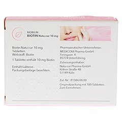 NOBILIN Biotin Natu-cur 10 mg Tabletten 100 Stück - Rückseite