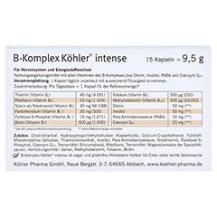 B-KOMPLEX Köhler intense Kapseln 15 Stück - Rückseite
