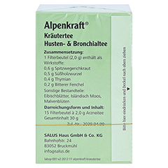 ALPENKRAFT Husten- und Bronchialtee Salus Fbtl. 15 Stück - Rückseite