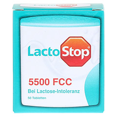 LACTOSTOP 5.500 FCC Tabletten Klickspender 50 Stück - Vorderseite