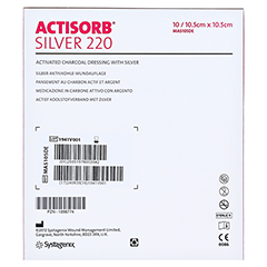 ACTISORB 220 Silver 10,5x10,5 cm steril Kompressen 10 Stück - Rückseite