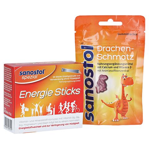 SANOSTOL spezial Energie Sticks + gratis sanostol Drachen-Schmatz 50g 20 Stück