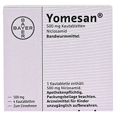 YOMESAN 500 mg Kautabletten 4 Stück - Rückseite