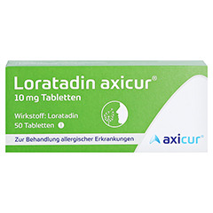 Loratadin axicur 10mg 50 Stück N2 - Vorderseite
