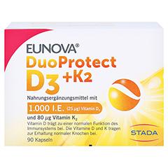 Eunova Duoprotect D3+k2 1000 I.E./80 µg Kapseln 90 Stück - Vorderseite
