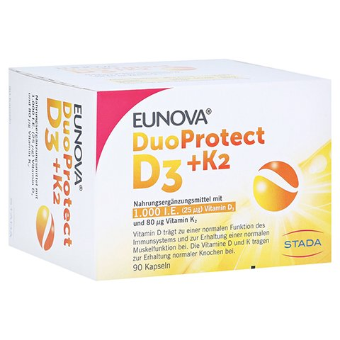 Eunova Duoprotect D3+k2 1000 I.E./80 µg Kapseln 90 Stück