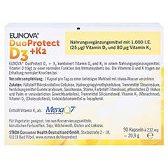 Eunova Duoprotect D3+k2 1000 I.E./80 µg Kapseln 90 Stück - Rückseite