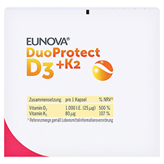 Eunova Duoprotect D3+k2 1000 I.E./80 µg Kapseln 90 Stück - Oberseite