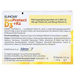 EUNOVA DuoProtect D3+K2 2000 I.E./80 µg Kapseln 30 Stück - Rückseite