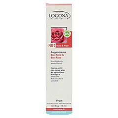 LOGONA Augencreme Bio-Rose & Bio-Aloe 15 Milliliter - Vorderseite