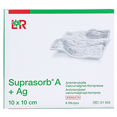 SUPRASORB A+Ag Antimik.Cal.Alginat Kompr.10x10 cm 8 Stück - Vorderseite