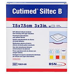 CUTIMED Siltec B Schaumverb.7,5x7,5 cm m.Haftr. 10 Stück - Vorderseite