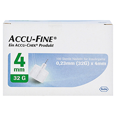 ACCU FINE sterile Nadeln f.Insulinpens 4 mm 32 G 100 Stück - Vorderseite