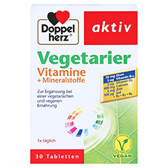DOPPELHERZ Vegetarier Vitamine+Mineralstoffe Tabl. 30 Stück - Vorderseite