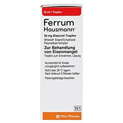 Ferrum Hausmann 50mg Eisen/ml Lösung 30 Milliliter N1 - Rechte Seite