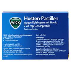 WICK Husten-Pastillen gegen Reizhusten mit Honig 12 Stück - Rückseite