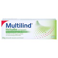 Multilind Heilsalbe mit Nystatin + gratis Multilind Waschlappen 50 Gramm N2 - Vorderseite