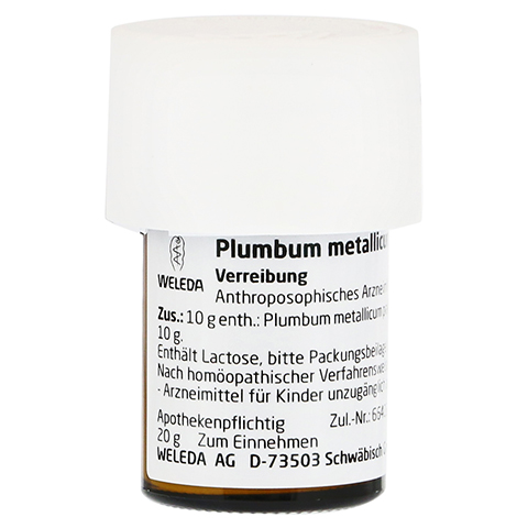 PLUMBUM METALLICUM praep. D 20 Trituration 20 Gramm N1