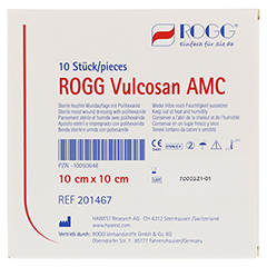 ROGG VULCOSAN AMC 10x10 cm Wundauflage 10 Stück - Rückseite
