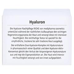 HYALURON NACHTPFLEGE riche Creme im Tiegel 50 Milliliter - Rückseite