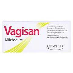 Vagisan Milchsäure Vaginalzäpfchen + gratis VagisanCare Creme-Gleitgel 10g 14 Stück - Vorderseite