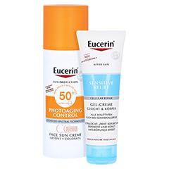 Eucerin Sun Creme getönt mittel LSF 50+ + gratis Eucerin After Sun 50 ml 50 Milliliter