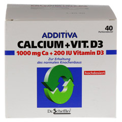 ADDITIVA Calcium 1.000 mg+Vit.D3 Pulver 40 Stück - Vorderseite