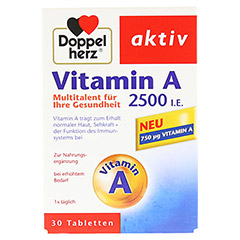 DOPPELHERZ Vitamin A 2500 I.E. Tabletten 30 St�ck - Vorderseite