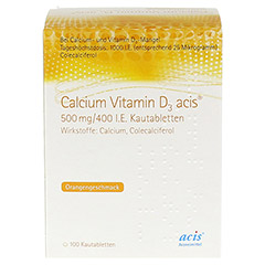 CALCIUM VITAMIN D3 acis 500 mg/400 I.E. Kautabl. 100 Stück - Vorderseite