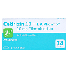 Cetirizin 10-1A Pharma 7 St�ck - Vorderseite